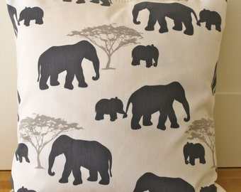"Elephant pillow cover, decorative pillow, elephant,grey, taupe, ivory, elephant cushion cover,18"" zip"