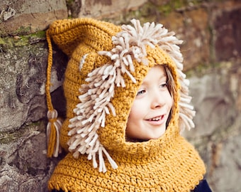 Crochet PATTERN - Lion Hooded Cowl (baby to adult)
