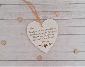 Personalised Mother of the groom gift, Heart gift for Mother of the groom, Grooms mum gift from bride, Wedding gift from bride, More colours