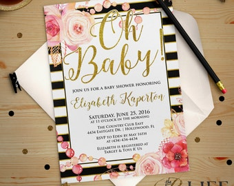 Oh BABY Floral and Gold Striped Baby Shower Invitation Printable DIY No. I273