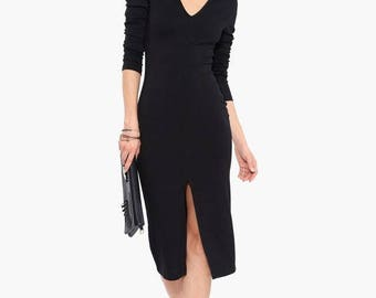 Column V Neck Front Slit Dress