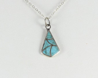 """Sterling Silver Turquoise Necklace 16"""" inch chain"""