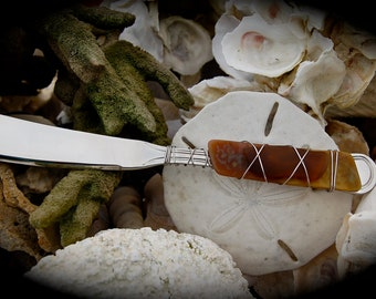 """Sea Glass Cheese Knife made with Recycled Bottle """"Tumbled Island Glass""""  in Amber Tortoise Shell. Dishwasher safe Stainless Steel"""