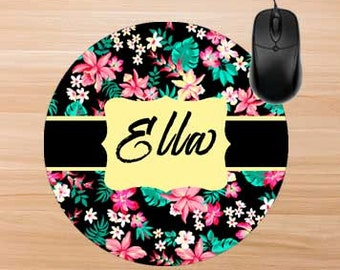 Black Floral Mouse Pad. Personalized Mouse Pad. Monogram Mouse Pad. Personalized Office Gifts. Teacher Gifts. Promotional Items.