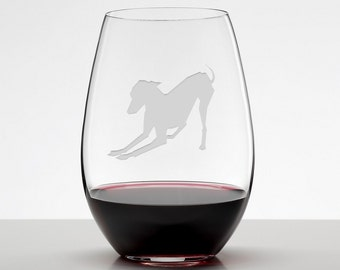 Italian Greyhound Wine Glass, Playful Italian Greyhound Glass, Iggy Etched Stemless Wineglass
