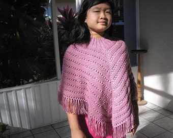 Knitted Poncho, Junior Girl - Plum Wine