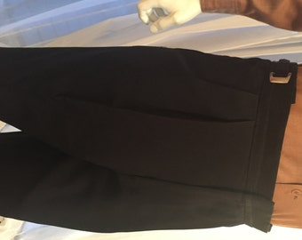 Vintage Black Wool Tuxedo Pants, 39 Waist x 31 Inseam, ca 1960s