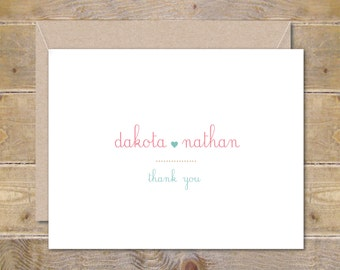 Wedding Thank You Cards . Personalized Wedding Cards . Bridal Shower Thank You Cards - So In Love