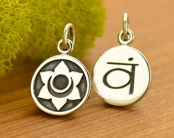 Sterling Silver Etched Sacral Chakra Charm