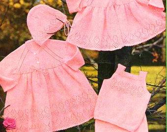 Knitted Dress, Jacket ,Vest, Bonnet  and Bootees /Knitted Layette/ Instant PDF Digital Download Vintage Knitting Pattern- 754