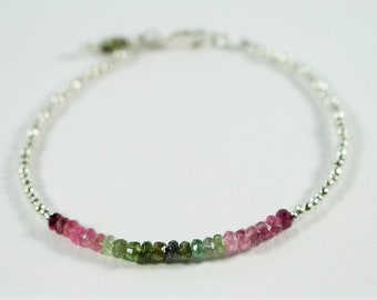 Tourmaline bracelet, silver and tourmaline bracelet, Womens gemstone bracelet, gemstone stacking Bracelet, Sterling silver Bracelet