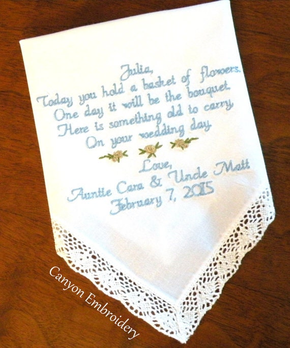 Wedding Gifts For Girl: Flower Girl Gift Embroidered Wedding Hankerchief Gift For Your