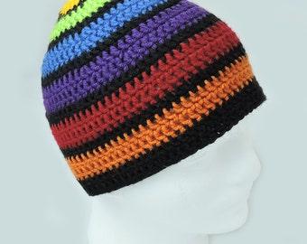Dark Rainbow Crochet Hat