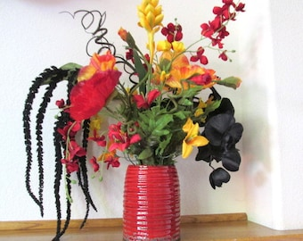 Large Silk Floral Arrangement in Black, Gold and Red with Orchids and Poppies