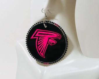 Atlanta Falcon Round Ear Rings(BREAST CANCER)
