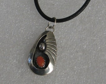 Jewelry Rescue Vintage Sterling Silver Coral Native American Pendant 1 1/4""