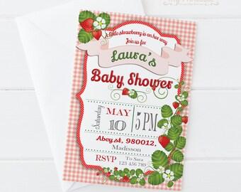 Strawberry Baby Shower Invite / Digital Printable Invitation / DIY Party