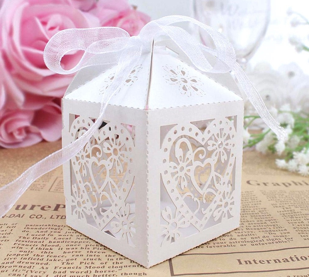 50 DIY Wedding Favor Boxes/Laser Cut Heart Boxes/Wedding Favors for ...