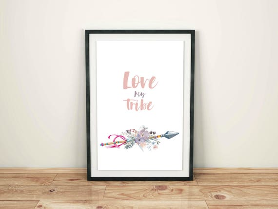 My Tribe Print, Flowers Print, Arrow Wall Decor, Boho Chic Wall Art, My Tribe, Watercolor Flowers, Bohemian Style, Digital Print, Love Art