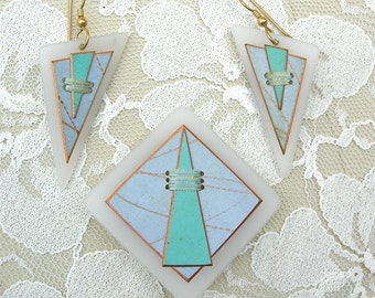 Boutique Artisan Geometric Pin & Earrings, turquoise and blue, threaded designs, like new