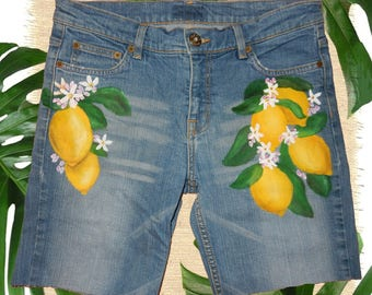 UK 14 Hand Painted LEMON Shorts