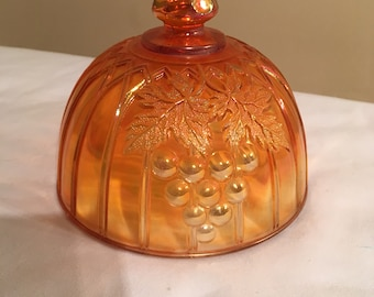Marigold Carnival Glass Grape & Gothic Arches Butter Dish Cover