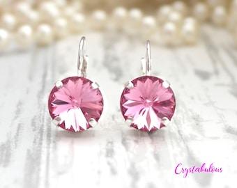 Pink Earrings, Crystal Earrings, Swarovski Earrings, Dangle Earrings, Drop Earrings, Bridal Earrings, Bridesmaid Earrings, Gift for her.