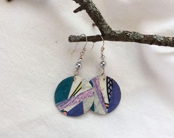 Geometric blue collage paper earrings