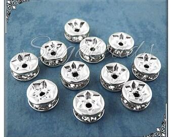 28 Silver Plated Crystal Rhinestone Rondelles 6mm, Silver Rhinestone Rondelles