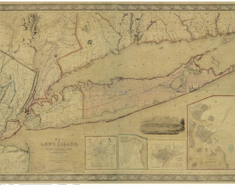 Long Island and Southern Connecticut - 1844 Map by J. Calvin Smith  - REPRINT LIP