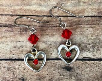 Red heart Swarovski earrings