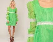 Swiss Dot Dress Puff Sleeve 70s Mini Babydoll Polka Dot Boho Mini Dress 60s Mod Lime Green Empire Waist Bohemian Vintage Extra Small xs