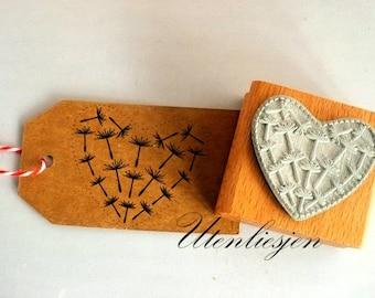 Stamp dandelion heart, rubber stamp 40 mm