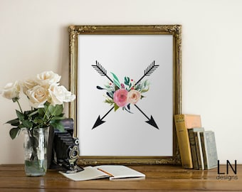 Instant Arrow Printable Art 8x10 Digital file Typography Wall Art Watercolor Floral Home Decor