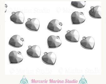 2 charms heart steel stainless 13mm