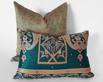 Ready to Ship, Decorative Pillow, Boho Pillows, Bohemian Pillow Covers, Blue Green, Gold, Teal Pillow, Sari, Throw Pillows, 14x20, 20x20