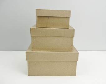 """Small square paper mache stacking boxes, graduated sizes set of 3 (4"""", 5"""" and 6"""")"""