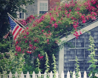 Photo Print - Rose Cottage in Nantucket Island, Cape Cod, Shabby Chic Cottage, American Flag Cottage Charm, Vintage Photography