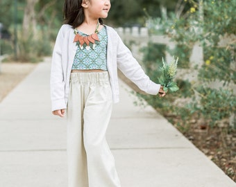 Tan Linen Look Wide Leg Pants Girls Pants Elastic Waist Handmade Pants