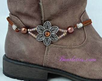 Cowboy Boot Jewelry, Filigreed Flower, Boot Bracelet, Pretty, Chocolate Fleur Pearle