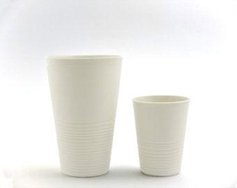 Minimalist porcelain mug, XL coffee cup, modern latte macchiato mug, contemporary ceramics, modern white mug, large white porcelain mug