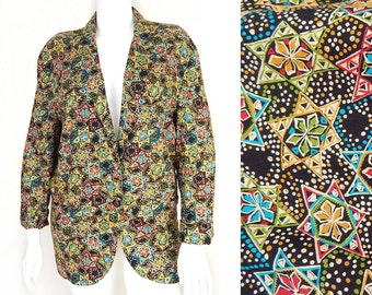 Vintage 80s Boho Batik Print Oversized Blazer - Size Medium - Women's Colorful Lightweight Rayon Single Button Jacket