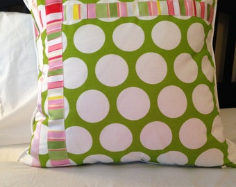 Green White Pillow Cover 20 x 20 inch Green White Dot Pillow Green Pink White Pillow Cover Girl Pillow Cover Baby|Nursery Pillow