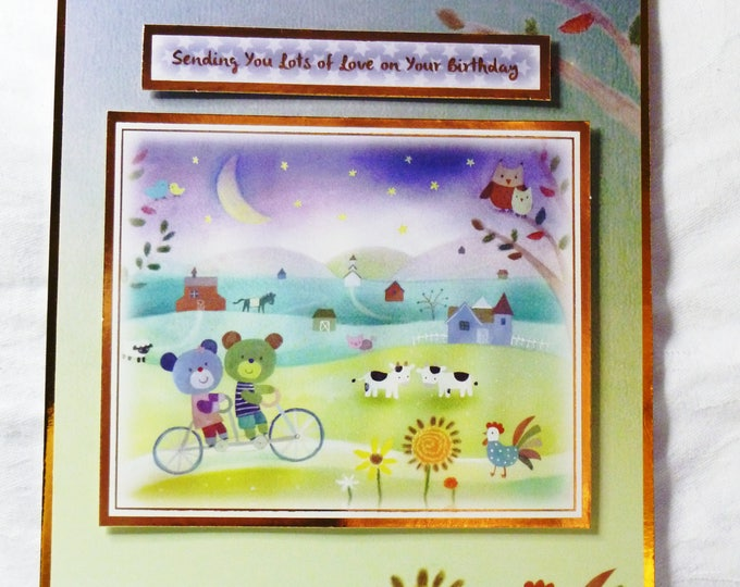 Bears on a Bike, Birthday Card, Greeting Card,  Farm Yard Animals, Boy or Girl, Son, Daughter, Nephew, Any Age, Age Number can be added