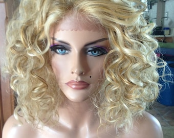 Free Shipping - French Lace Front Wig - High Quality Synthetic - Curly Multiple Blonde Hair - Chic - Fashion
