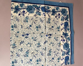 Vintage French Hand Printed Cotton Table Scarf