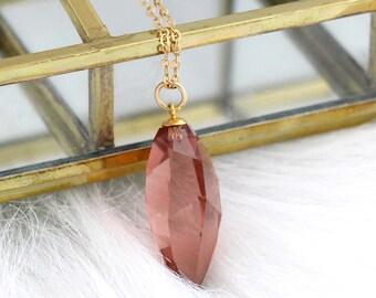 Blush Necklace, Blush Long Necklace, Blush Gold Filled Necklace, Gift For Her, Long Gold Necklace, sWarovski Blush Necklace, Pink Necklace