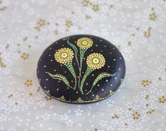 Mandala stone dot art painted stone painted rocks dot mandala dandelion