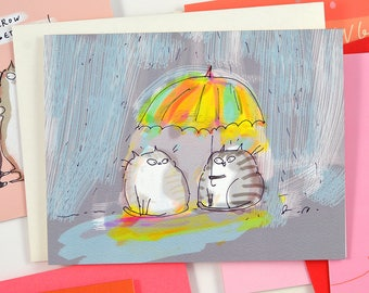Rainy Day Friend - Cat Card - Thinking of You Card - Spring Card - March