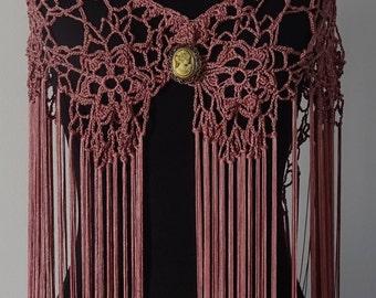 Mantoncillo of flamenco to Crochet Cuquillo yarn violet color of rosettes (Ref M-16)